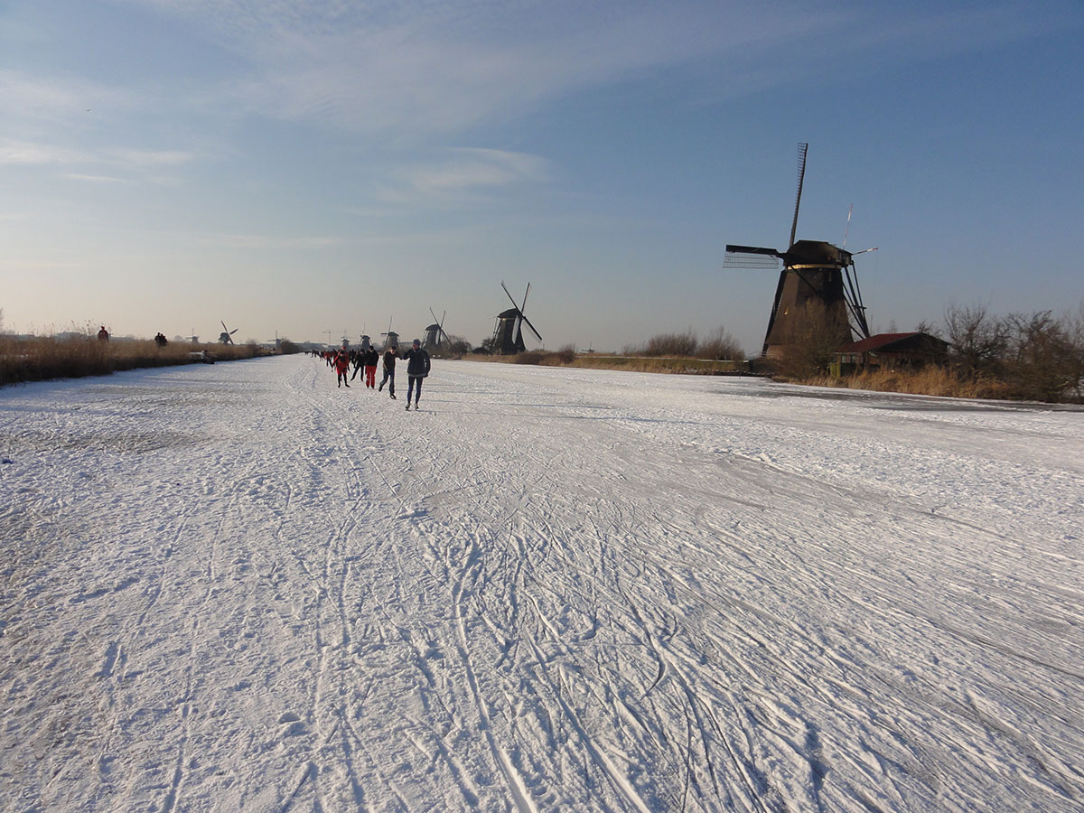 ice skating on the canals in the Netherlands