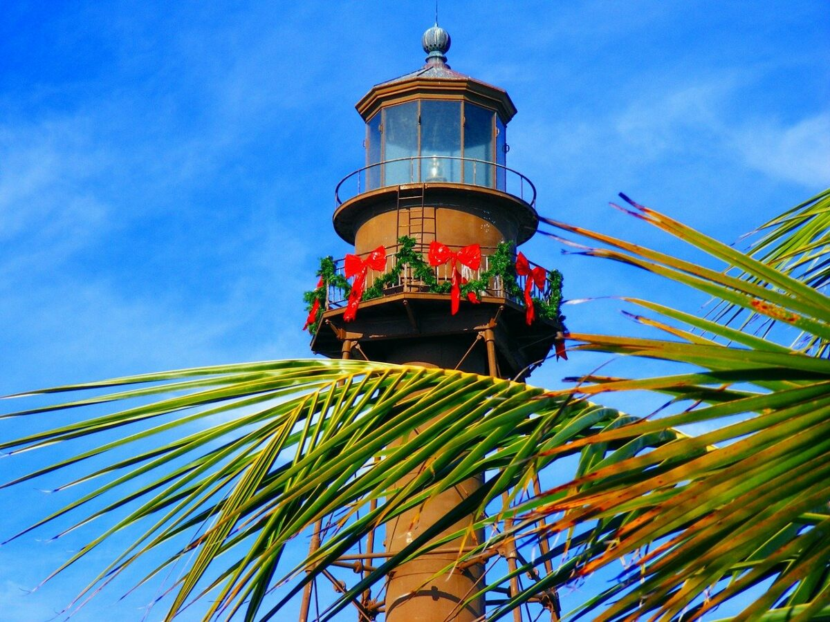 Sanibel Island, Florida lighthouse decorated for Christmas