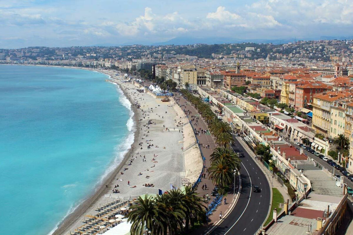 Aerial view of Nice, France and the beach