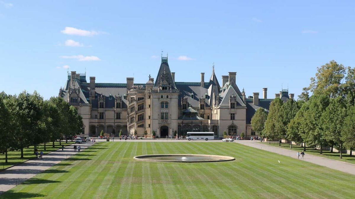 Front lawn and facade of the Biltmore House, Asheville, North Carolina
