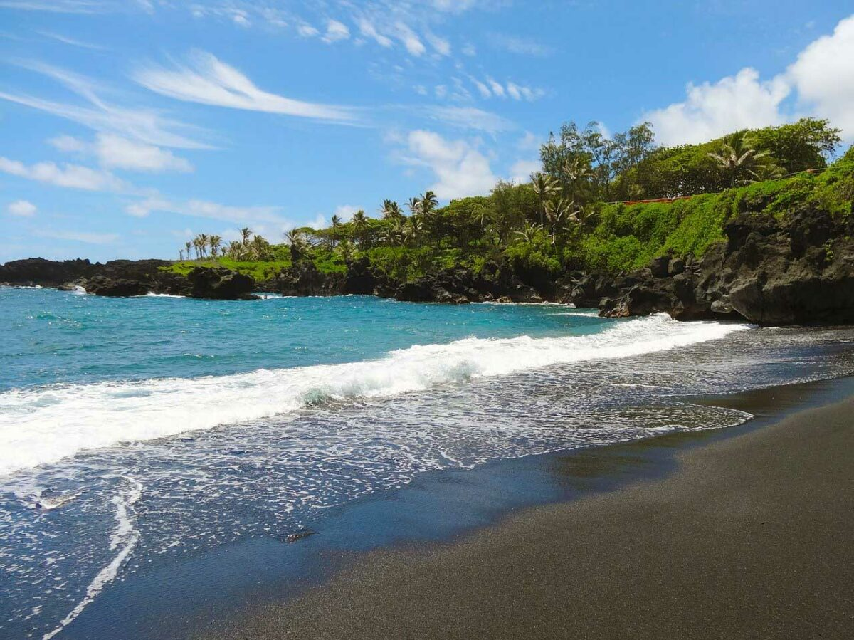 Black sand beach, Maui, Hawaii