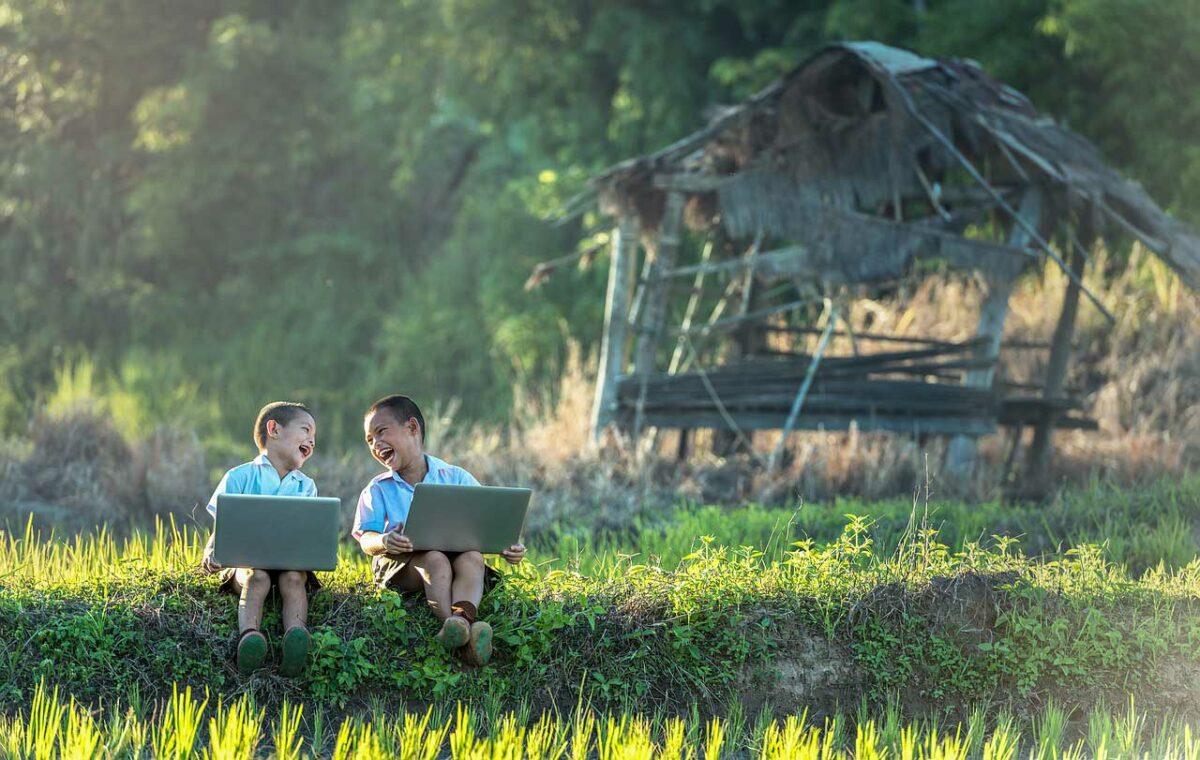 boys with laptops in Myanmar