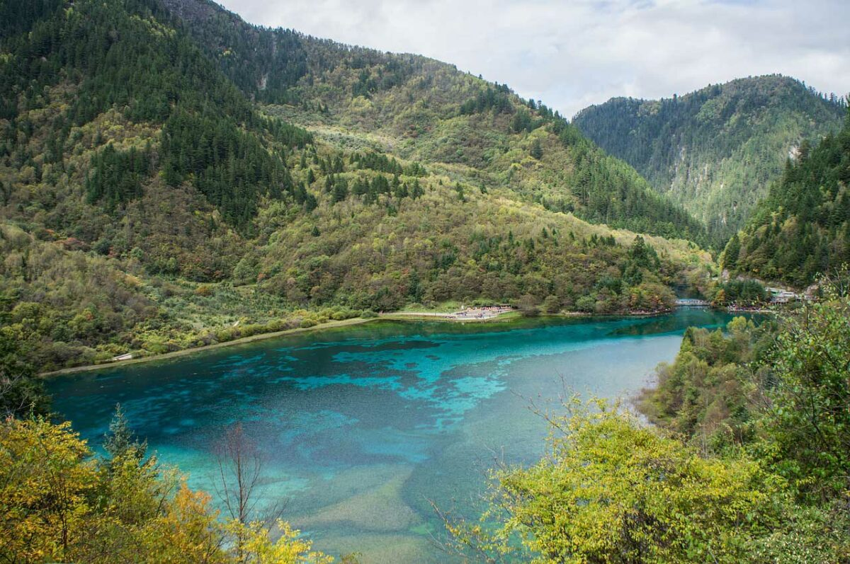 blue lake in Jiuzhaigou Nature Reserve, China
