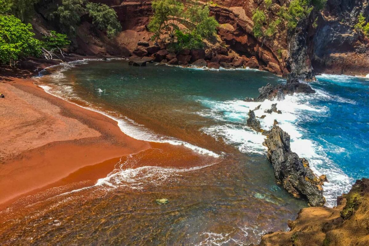Kaihalulu Beach, red sand beach, Hawaii