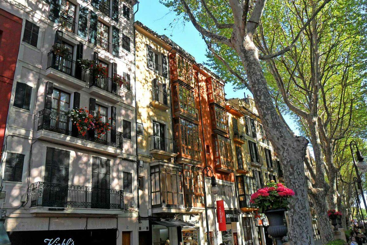 Buildings along street in Majorca