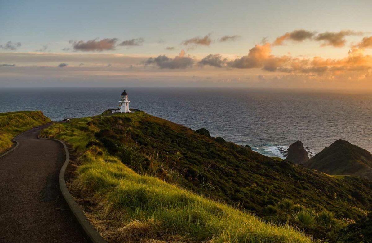 New Zealand lighthouse along a coastal road