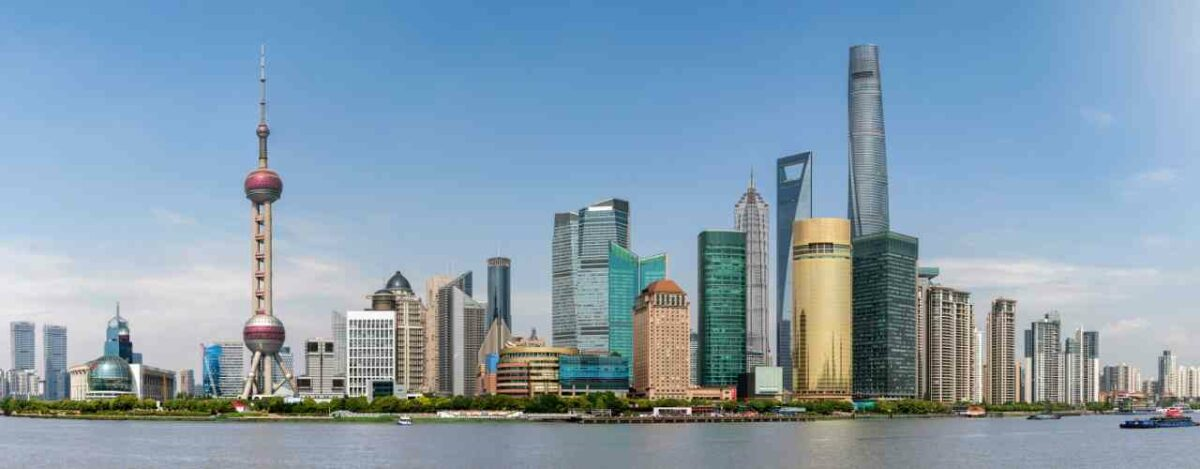 Shanghai, China has 25 skyscrapers over 200m making it one of the biggest skylines in the world