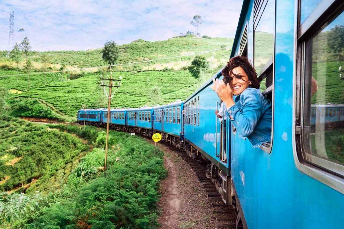 Woman on train in Sri Lanka