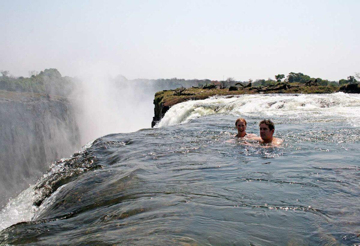 Swimming above Victoria Falls