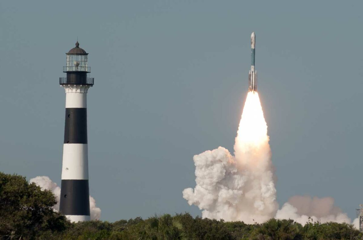 Cape Canaveral Lighthouse plus Delta II Rocket Launch
