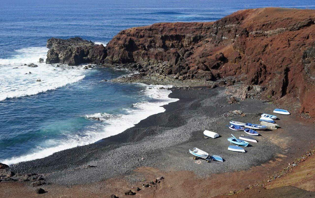 El Golfo, a black sand beach on Lanzarote