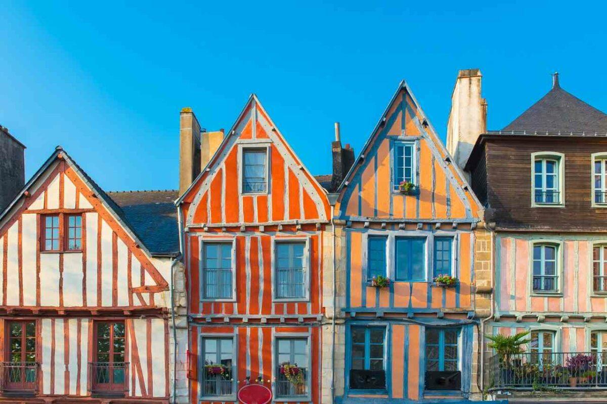Houses in Vannes, in Morbihan, Brittany, France