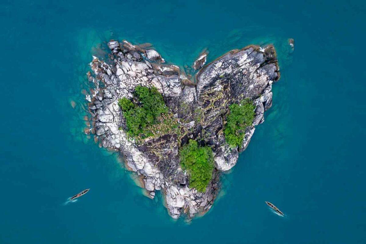 Heart-shaped island in Lake Malawi