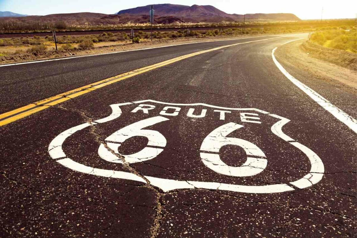 Route 66 logo painted along the highway