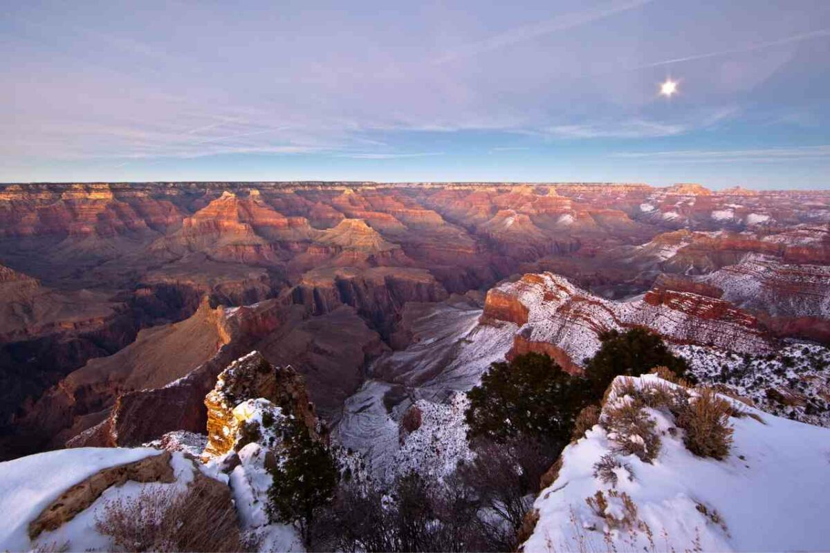 Snow-capped  peaks along the Grand Canyon