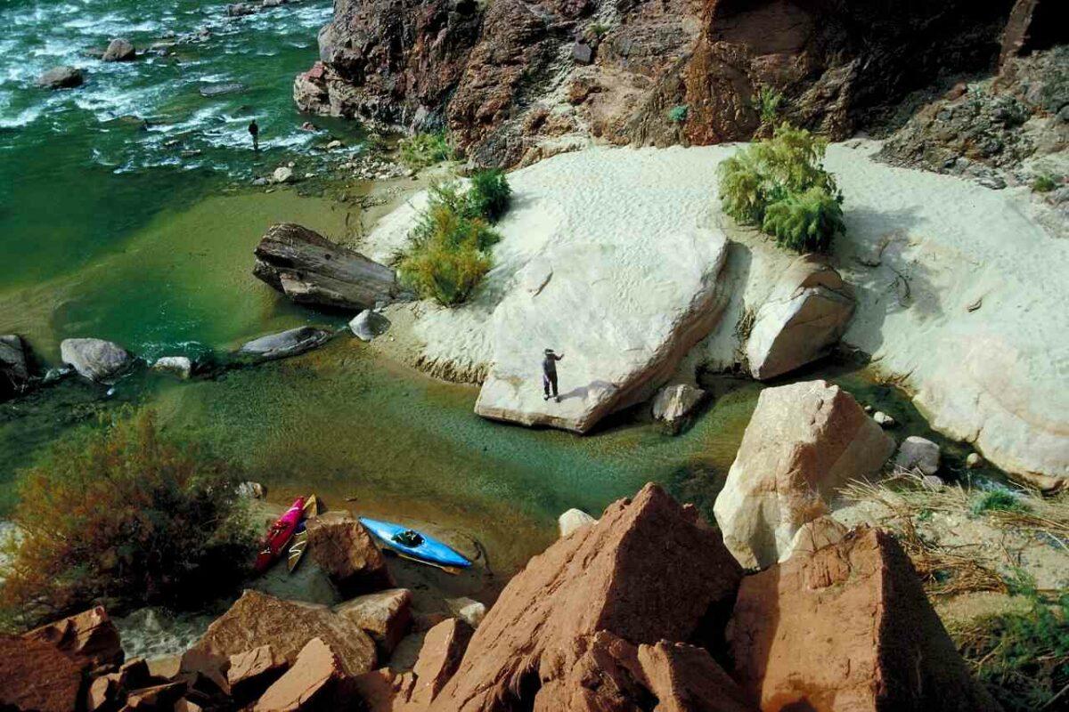 Kayaking near Deer Creek Falls in the Grand Canyon