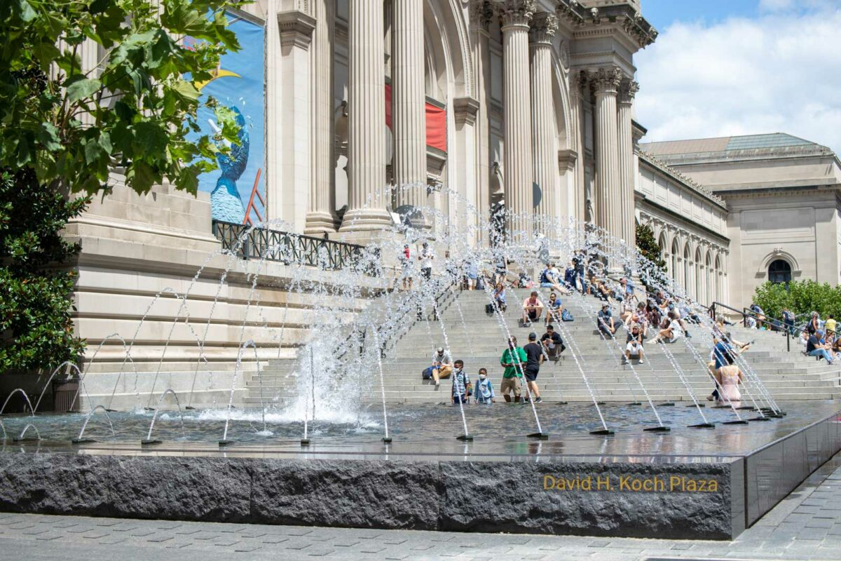 The fountains at the front of the Metropolitan Museum of Art