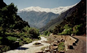 Ourika River and High Atlas mountain range in Morocco