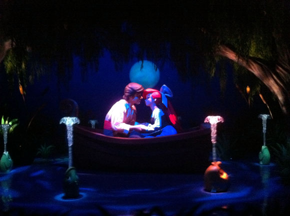 Prince Eric and Ariel on The Little Mermaid Ride