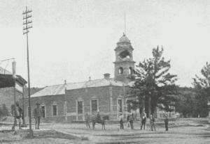 The Ladysmith Town Hall under siege, this photo was taken in 1900.