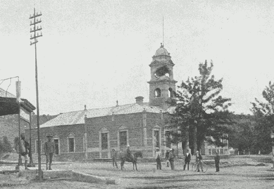 The Ladysmith Town Hall under siege, this photo was taken in 1900.