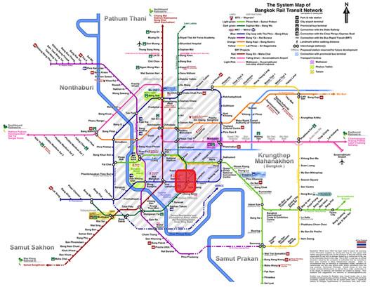 Bangkok Rail Map showing Silom