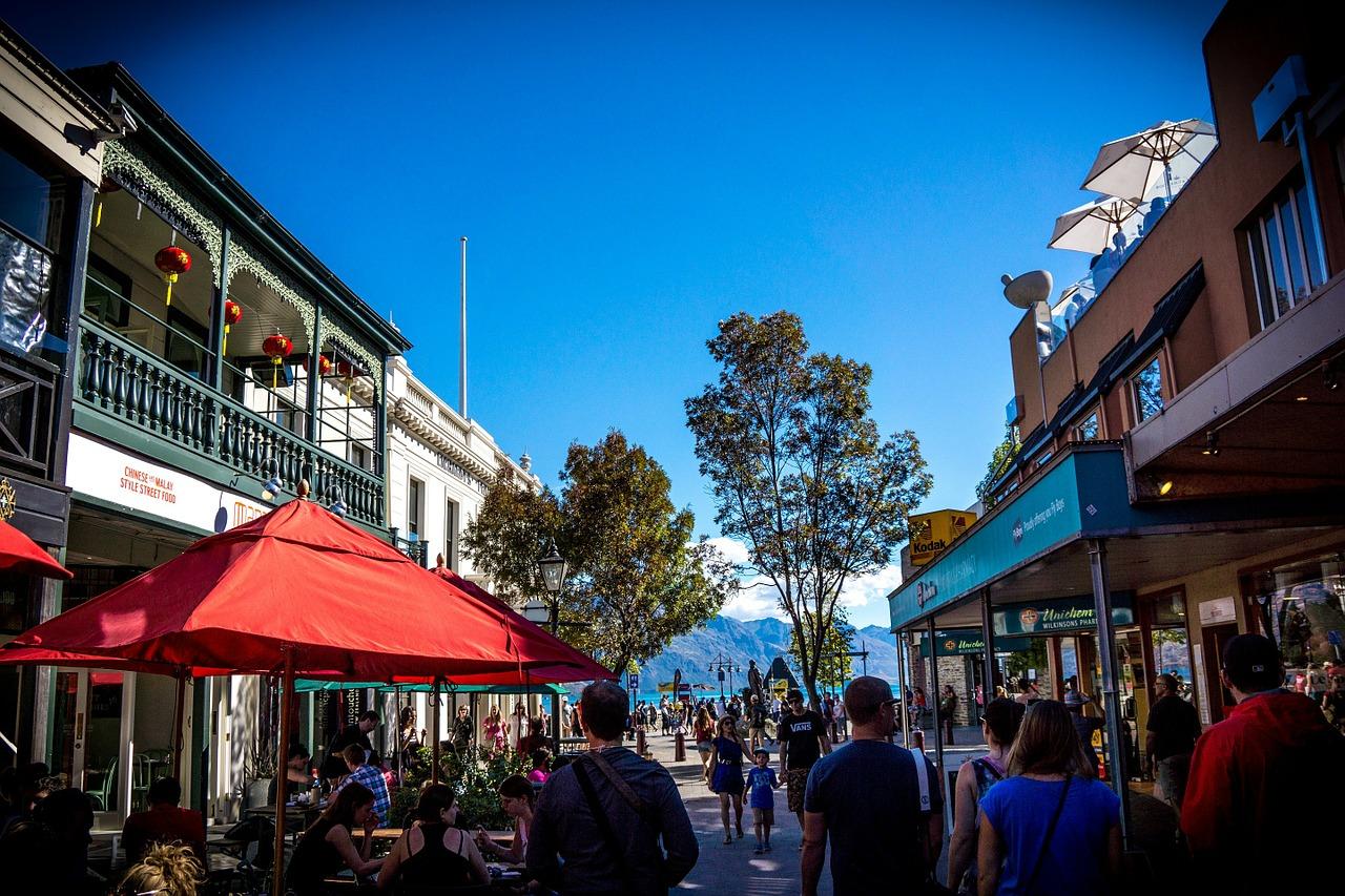 Downtown Queenstown in New Zealand