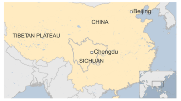 A map of China displaying the locations of Sichuan and Tibetan Plateau